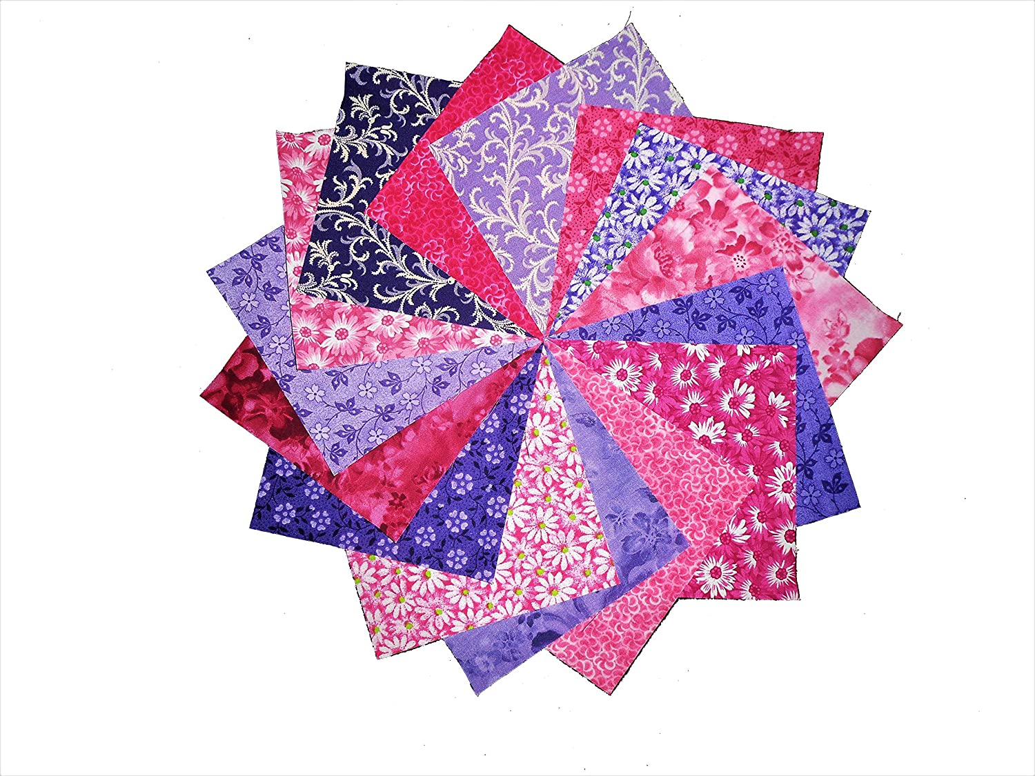 1 OF EACH 15 10X10 INCH LAYER CAKE PURPLE /& PINK 15 DIFFERENT