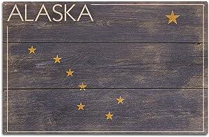 Lantern Press Alaska - Rustic State Flag (10x15 Wood Wall Sign, Wall Decor Ready to Hang)