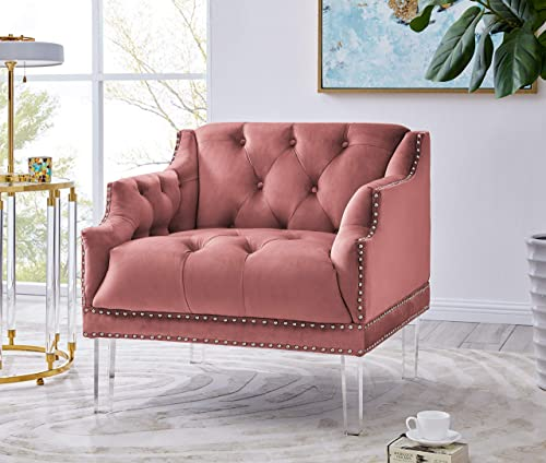 Editors' Choice: Iconic Home Elsa Club Chair Velvet Upholstered Button Tufted Nailhead Trim Slope Arm Design Acrylic Legs Modern Transitional