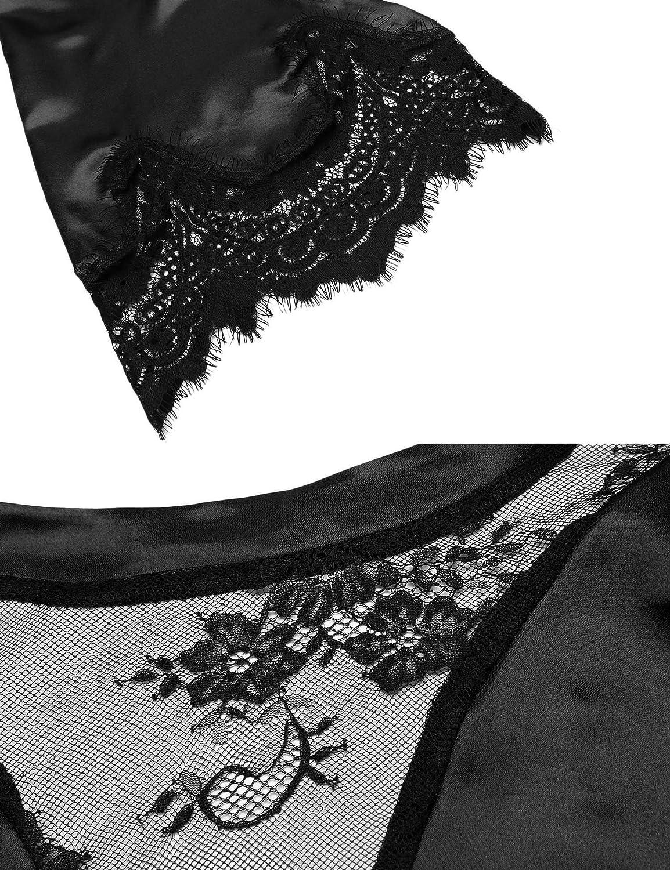 Untlet Damen Morgenmantel Kimono Bademantel Kurze Satin Nachthemd Nachtw/äsche Schlafanz/üge Mit Blumenspitze
