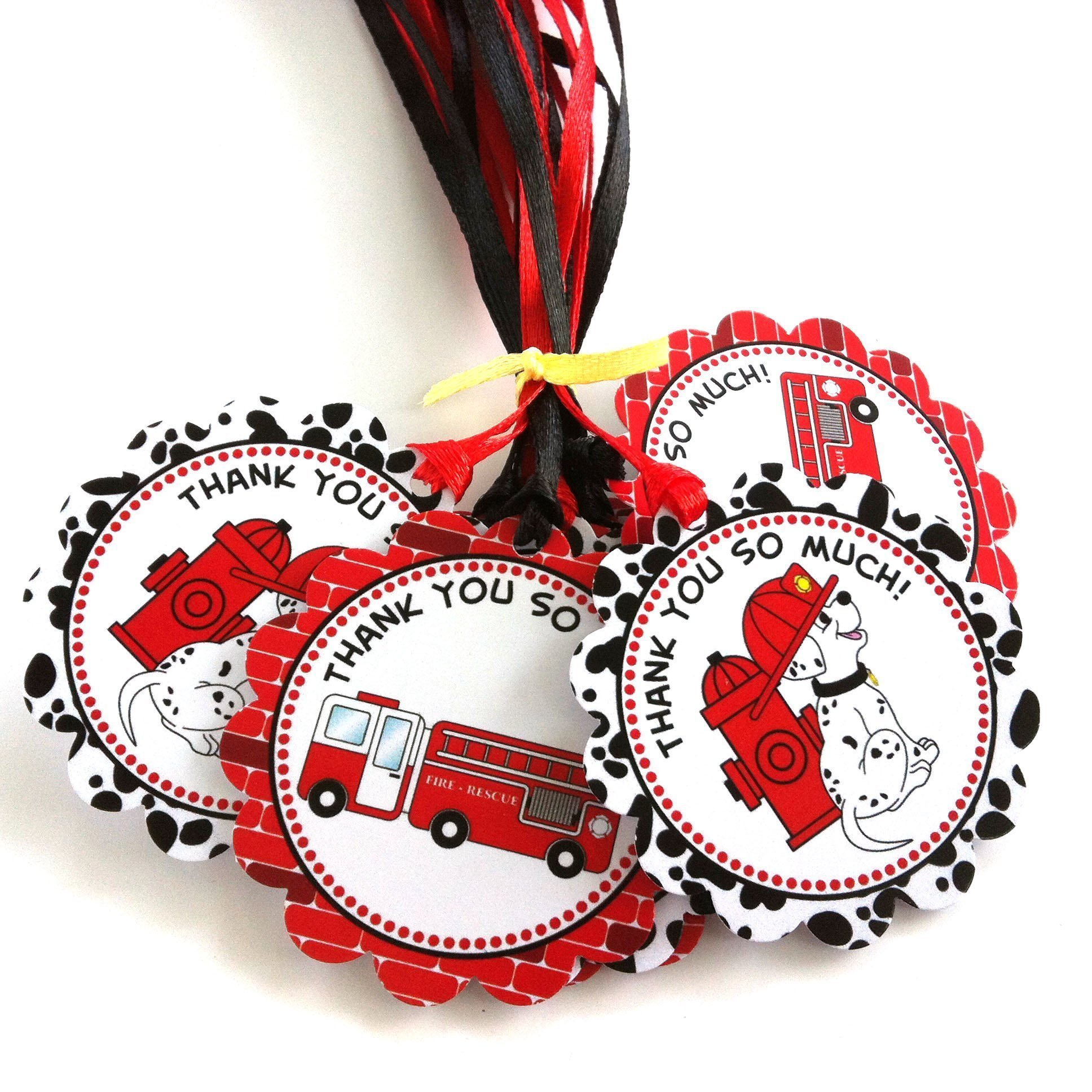 Firefighter Dalmatian Thank You Favor Tags - Fire Rescue Birthday Baby Shower Party Tags - Set of 12