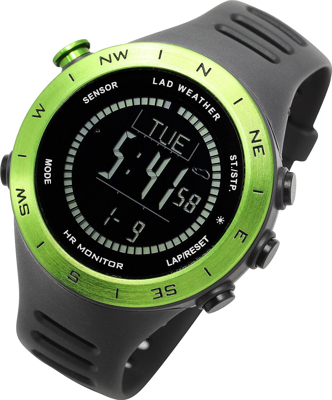 [LAD WEATHER]アウトドア腕時計 心拍計測 高度計 気圧計 気温計 天気 デジタルコンパス 距離/速度/歩数/消費カロリー 登山/クライミング スポーツ時計 B078XBCFBN
