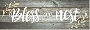 Bless Our Nest Rustic Wood Wall Sign 6x18 (Gray)
