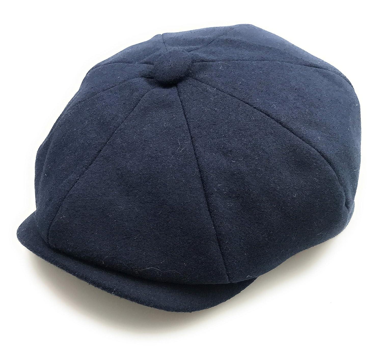 Hats of London Mens Newsboy Cap 8 Panel Plain Navy Baker Boy Flat Cap.