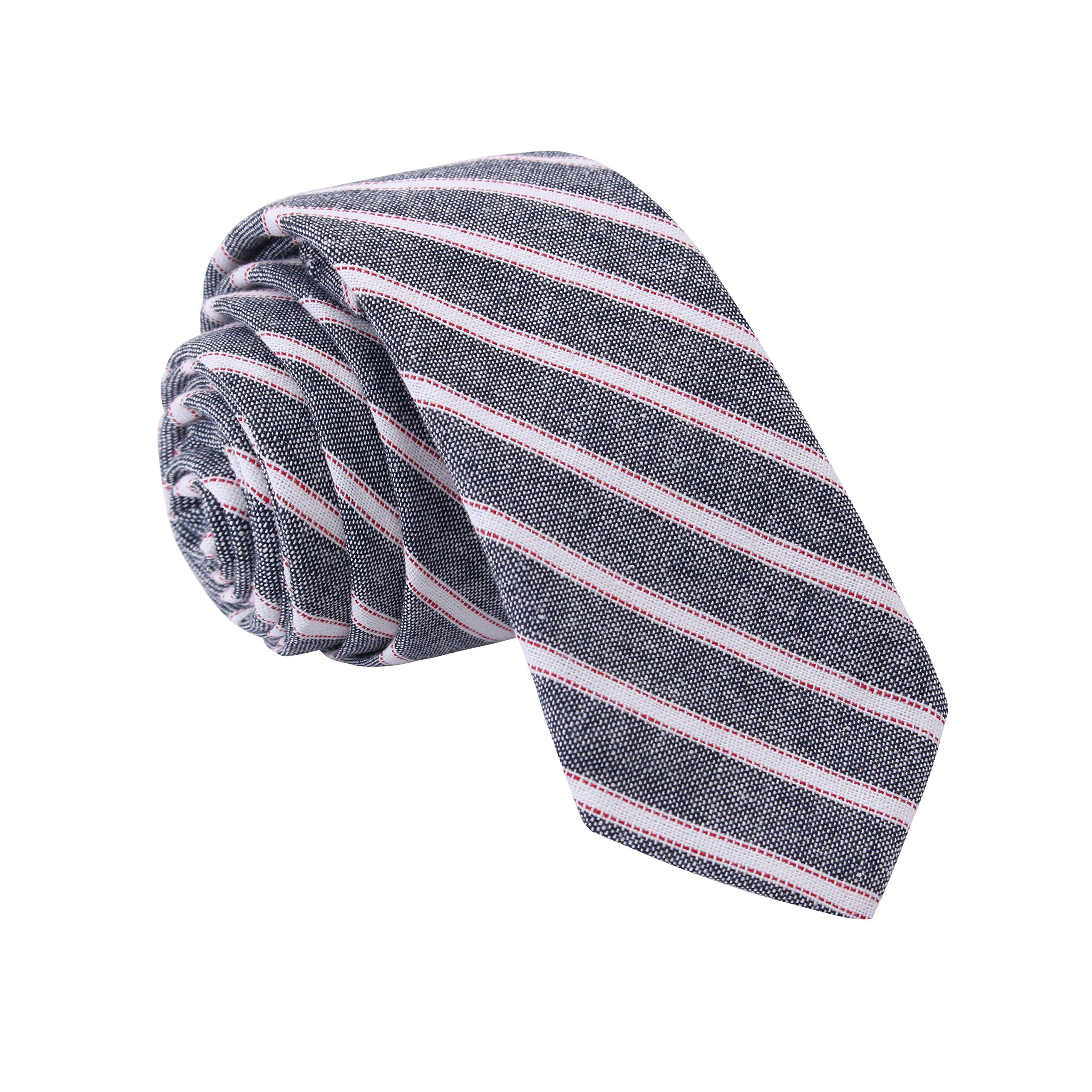 Tsheoul Noted Men's cotton Stripedl Neck Tie+ Gift Box
