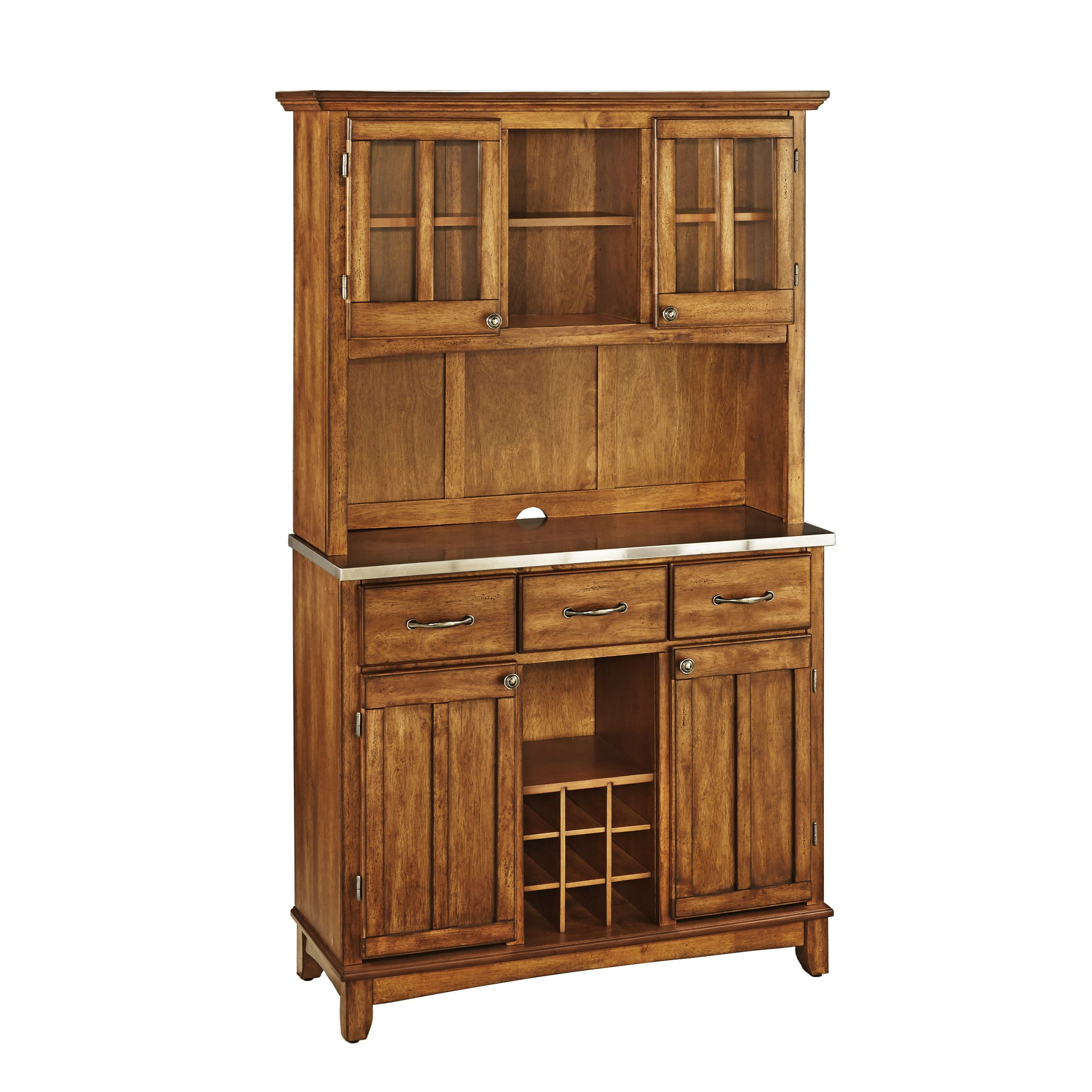 Buffet of Buffets Cottage Oak with Stainless Steel Top and Hutch by Home Styles by Home Styles