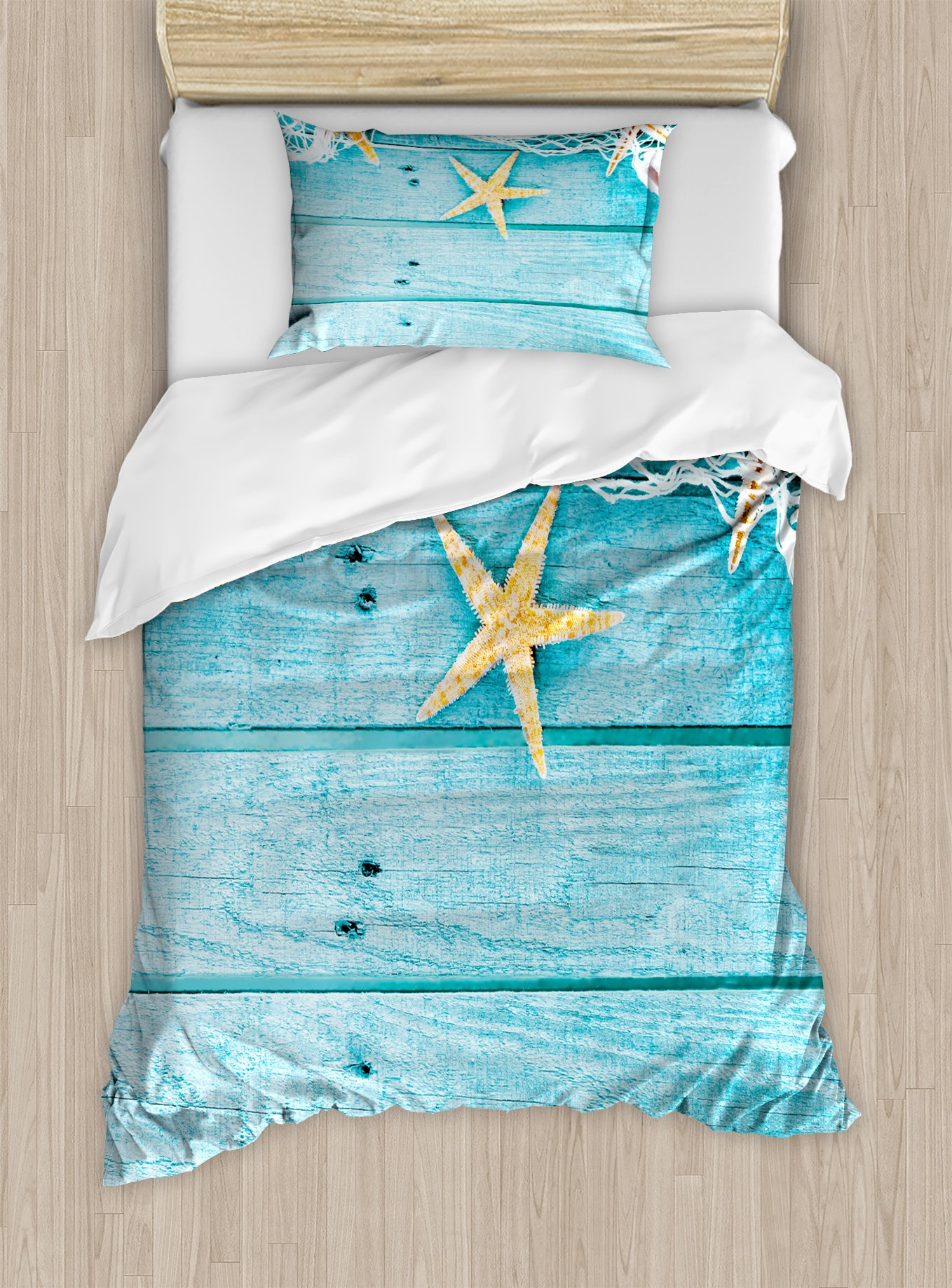 Ambesonne Starfish Duvet Cover Set Twin Size, Rustic Wood Boards Fishing Net and The Ocean Animals Nautical Print, Decorative 2 Piece Bedding Set with 1 Pillow Sham, Turquoise White Orange