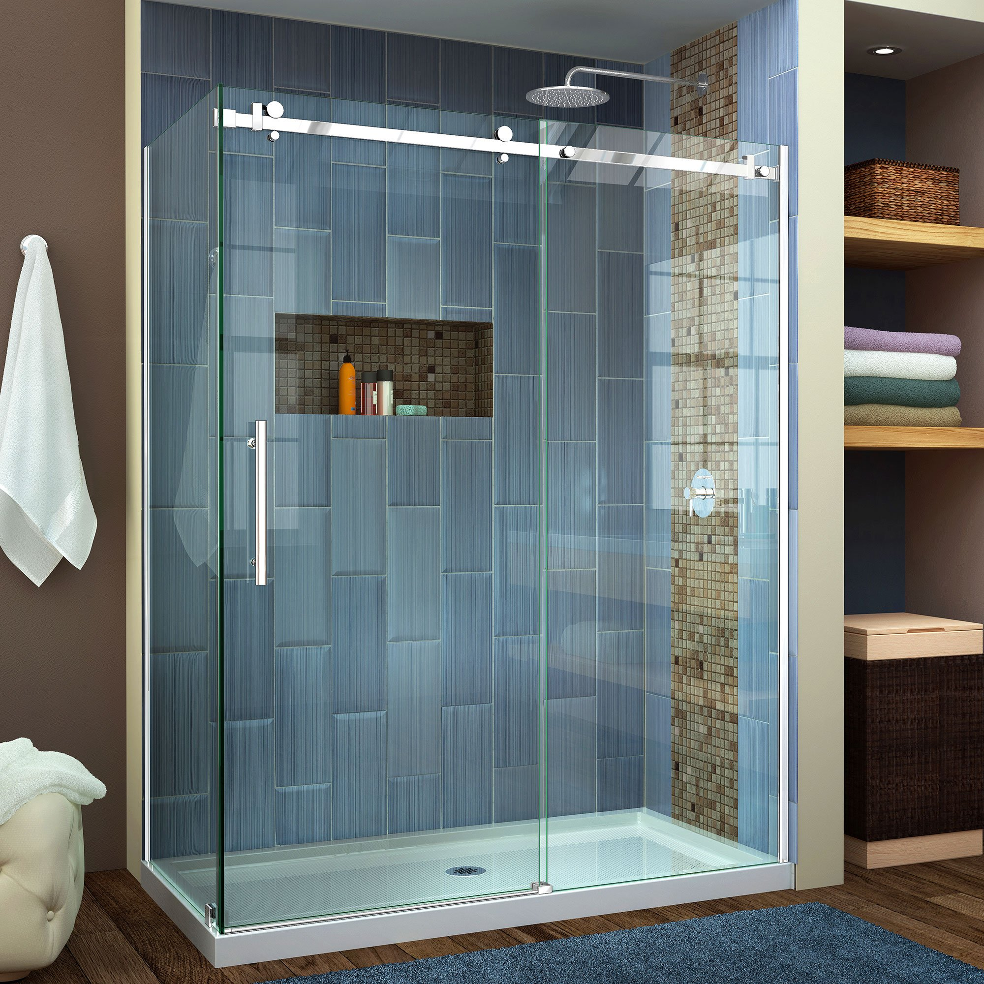 DreamLine Enigma Air 34 3/4 in. D x 60 3/8 in. W x 76 in. H Frameless Sliding Shower Enclosure in Polished Stainless Steel, SHEN-6434600-08