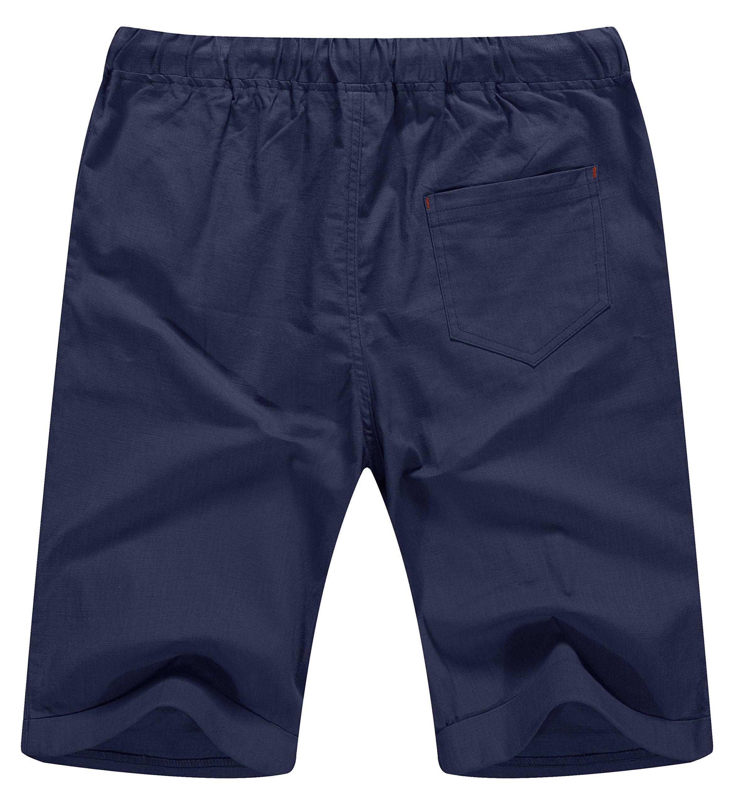 NITAGUT Men's Linen Casual Classic Fit Short Navy Blue L by NITAGUT (Image #2)