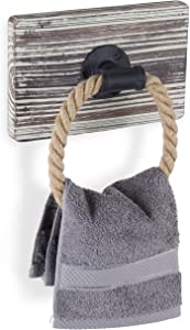 MyGift Rustic-Industrial Wall-Mounted Torched Wood & Rope Towel Ring