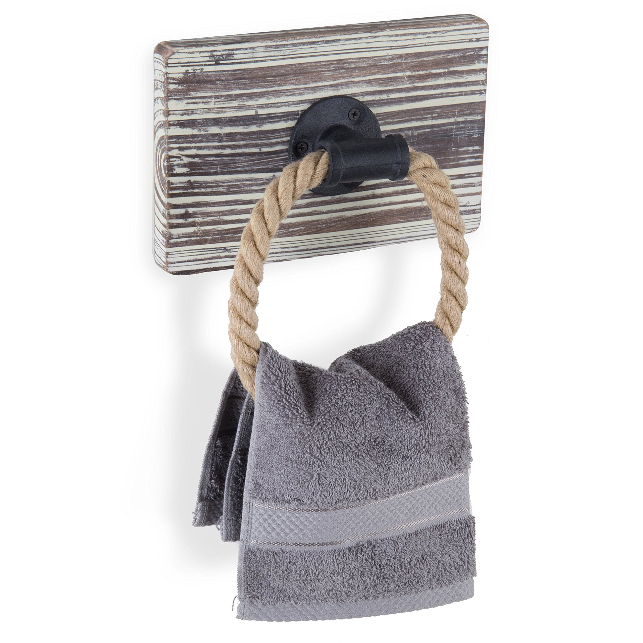 MyGift Rustic-Industrial Wall-Mounted Torched Wood & Rope Towel Ring by MyGift