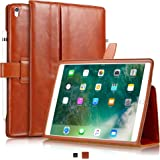 "KAVAJ iPad Pro 10.5"" Case Leather Cover ""London"" for Apple iPad Pro 10,5"" Cognac-Brown Genuine Cowhide Leather with Pencil Holder Built-in Stand Auto Wake/Sleep Function Slim Fit Smart Folio iPad 10 5"