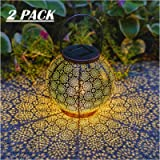Solar Lanterns Outdoor Hanging Decorative Solar Lights Outdoor for Garden Patio Courtyard Lawn and Tabletop with Shadow…