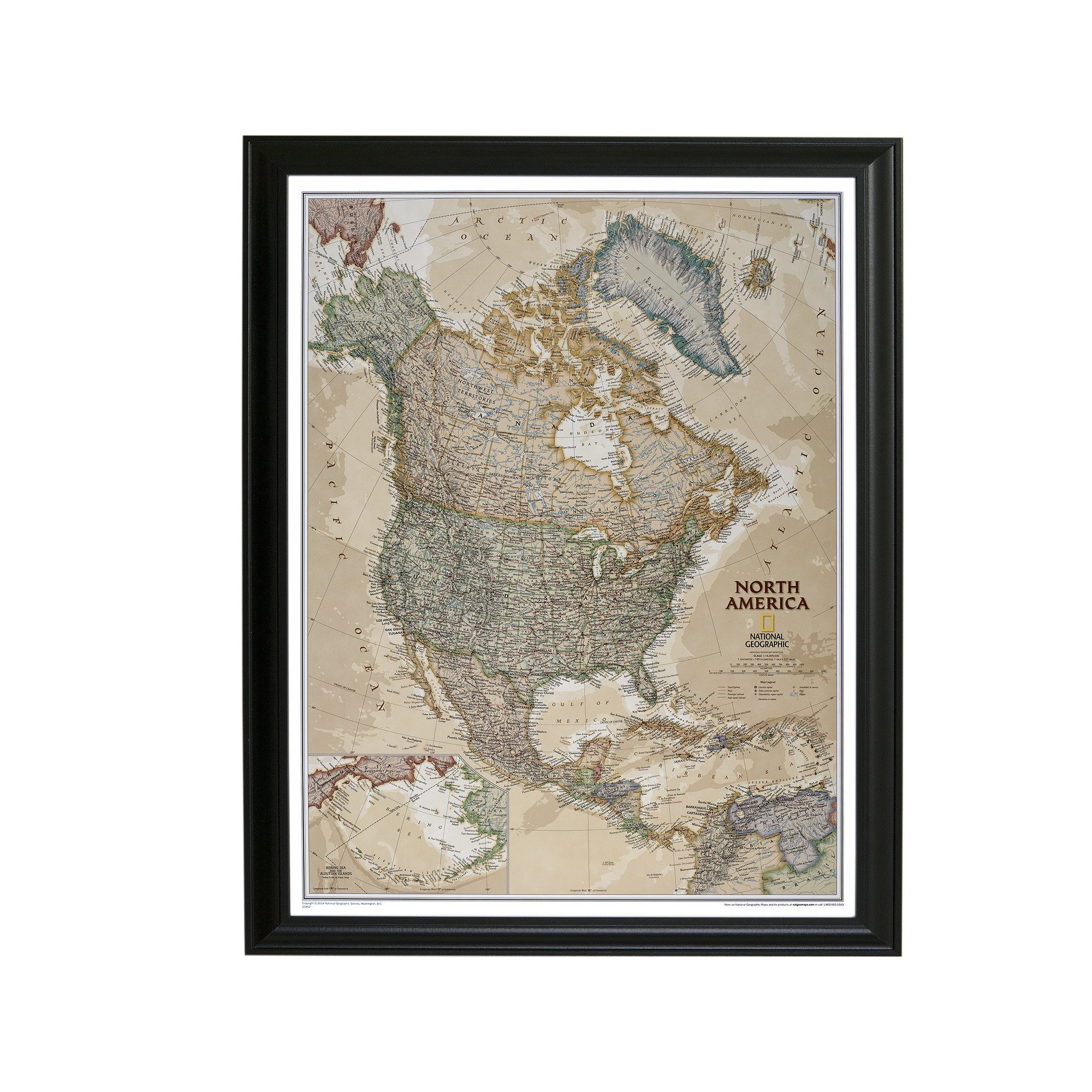 Executive North America Push Pin Travel Map with Black Frame and Pins