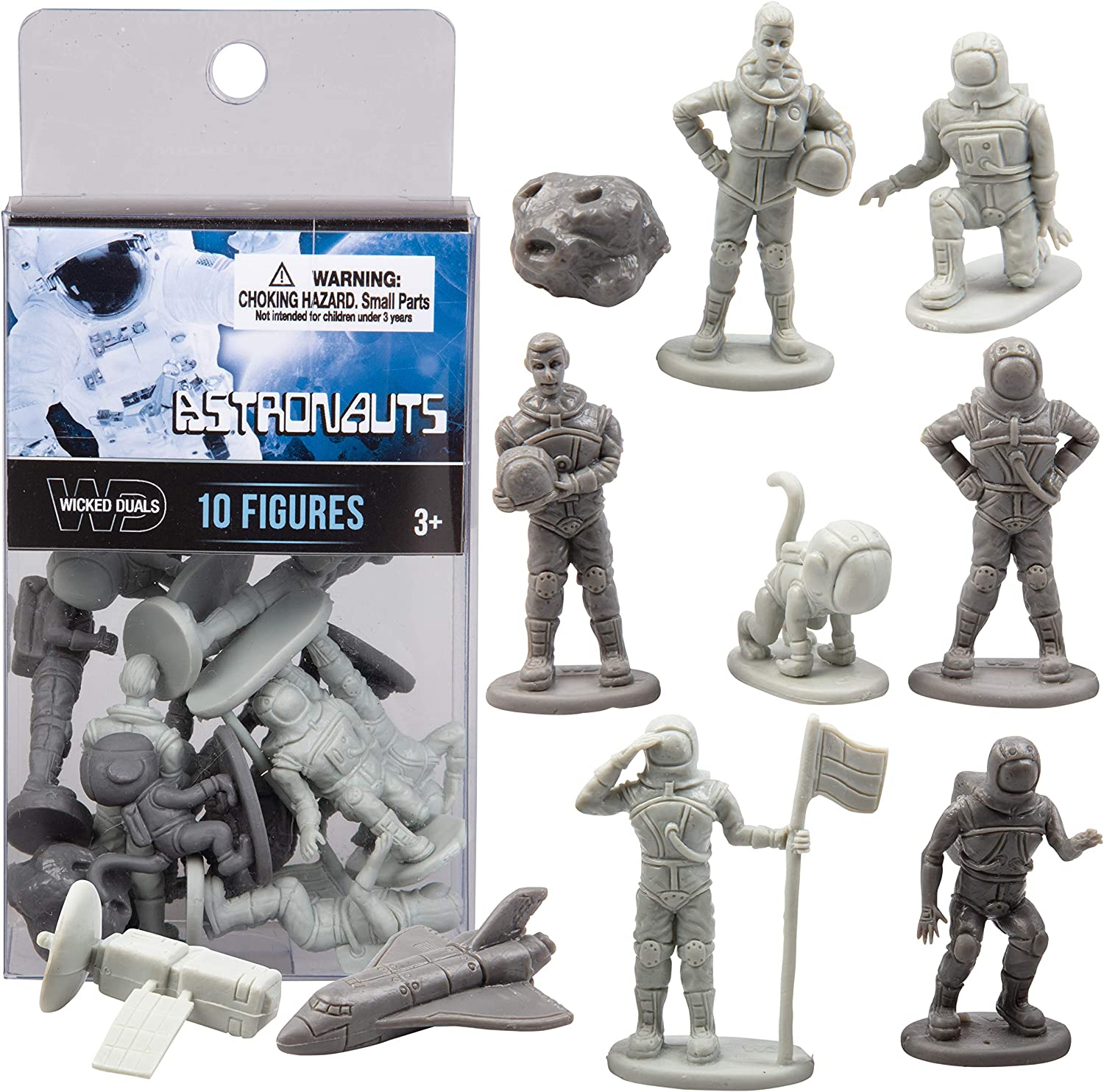 SCS Direct Wicked Duals Mini Astronaut Figures Playset 10 pc Toy Collection - Unique Sculpted Space Action Figures for Party Favors, Dioramas, Decorations and More!