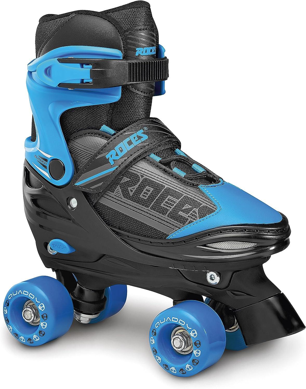 Noir Bleu Roces Quaddy Boy Patins /à Roulettes por Gar/çon Taille R/églable Enfant Quad Roller Skates