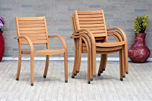 Amazonia Arizona Patio Stacking Chairs | Teak Finish | Durable and Ideal for Indoors and Outdoors (Set of 4), Light Brown