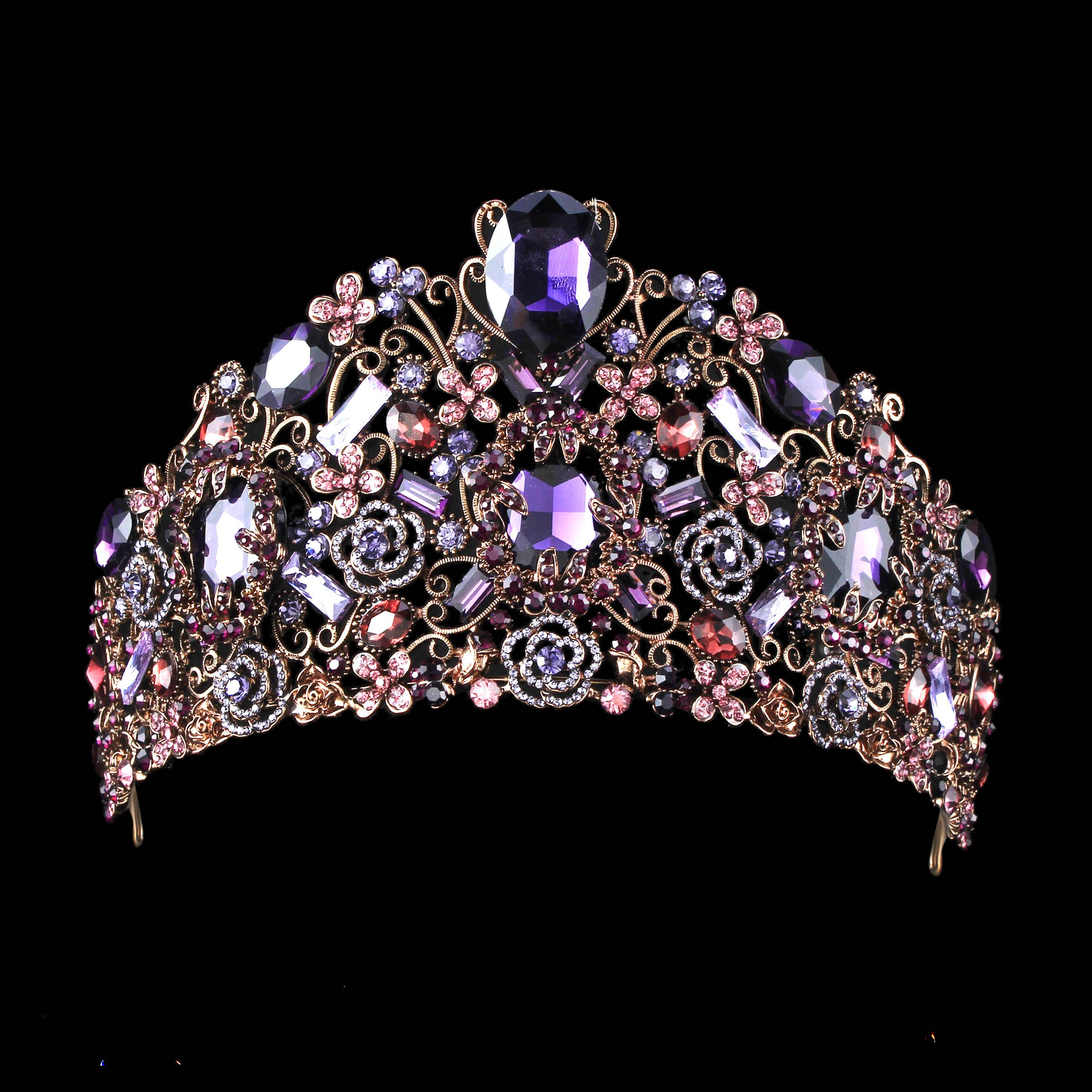 Amazon.com   FUMUD Handmade Luxury Black Baroque Style Bridal Purple Crystal  Crown Tiara Headpieces Birthday party Hair Accessories (Purple)   Beauty b19eee0a648a
