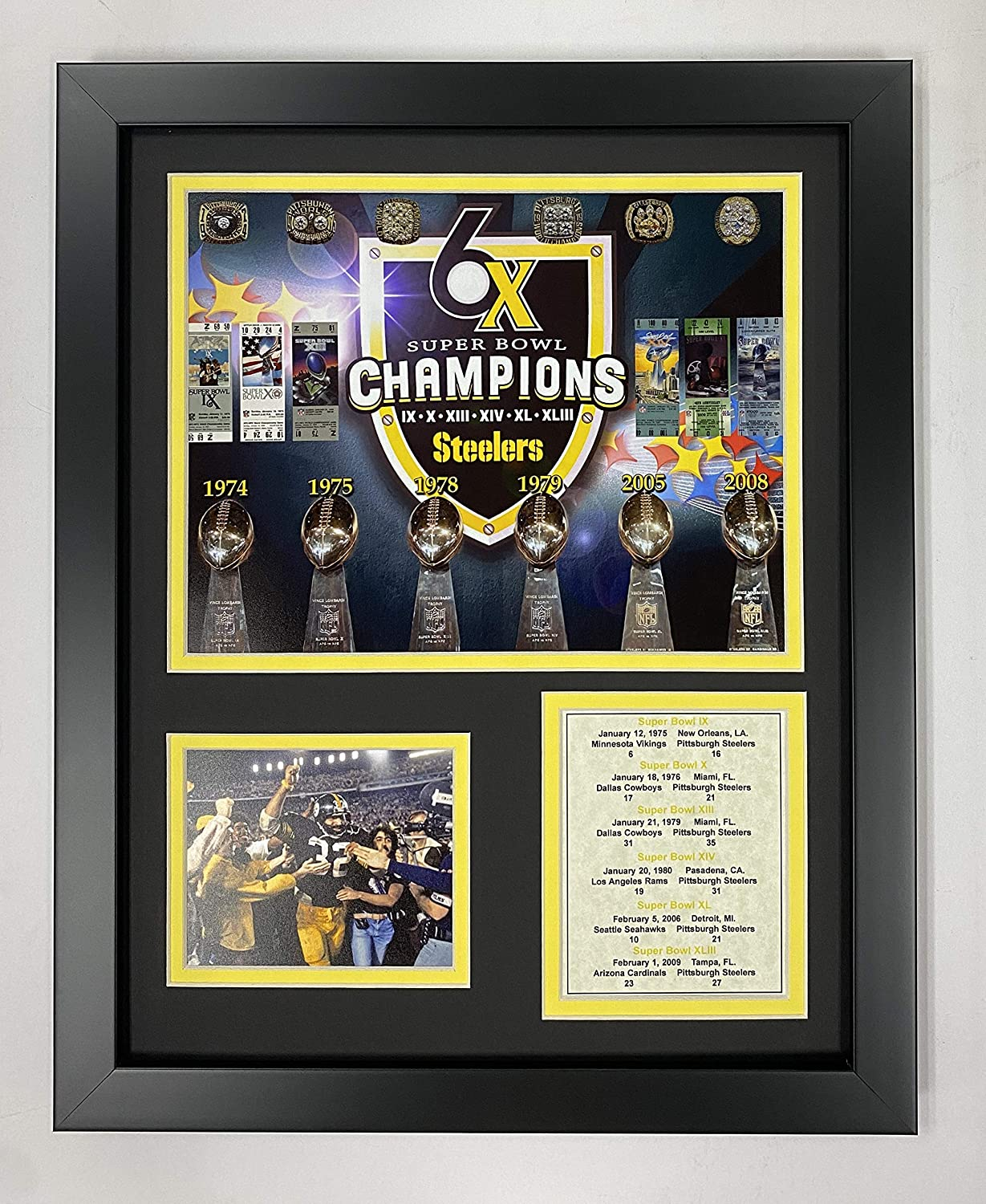 """Pittsburgh Steelers Superbowl Championships 11"""" x 14"""" Framed Photo Collage by Legends Never Die, Inc."""