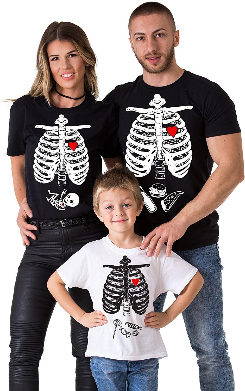 Halloween Maternity Baby Boy Matching Family Skeleton T-Shirts