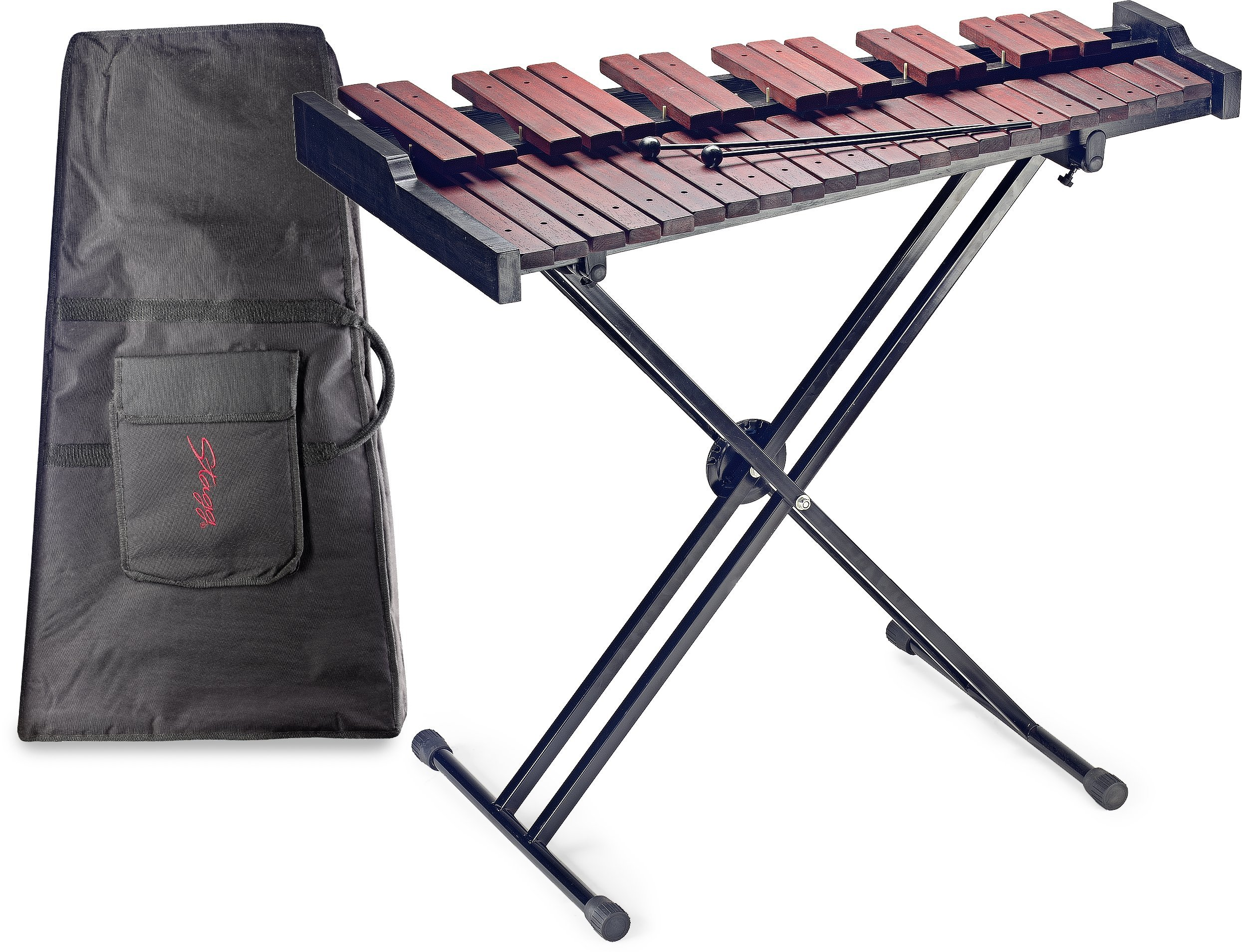 Stagg XYLO-SET 37 37-Key Xylophone with Mallets and Stand, wooden/black, -inch by Stagg