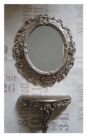 Espejos Espejo De Pared Plata Envejecida Ovalado 45 X 38cm Barroca Antiguo Reproducción
