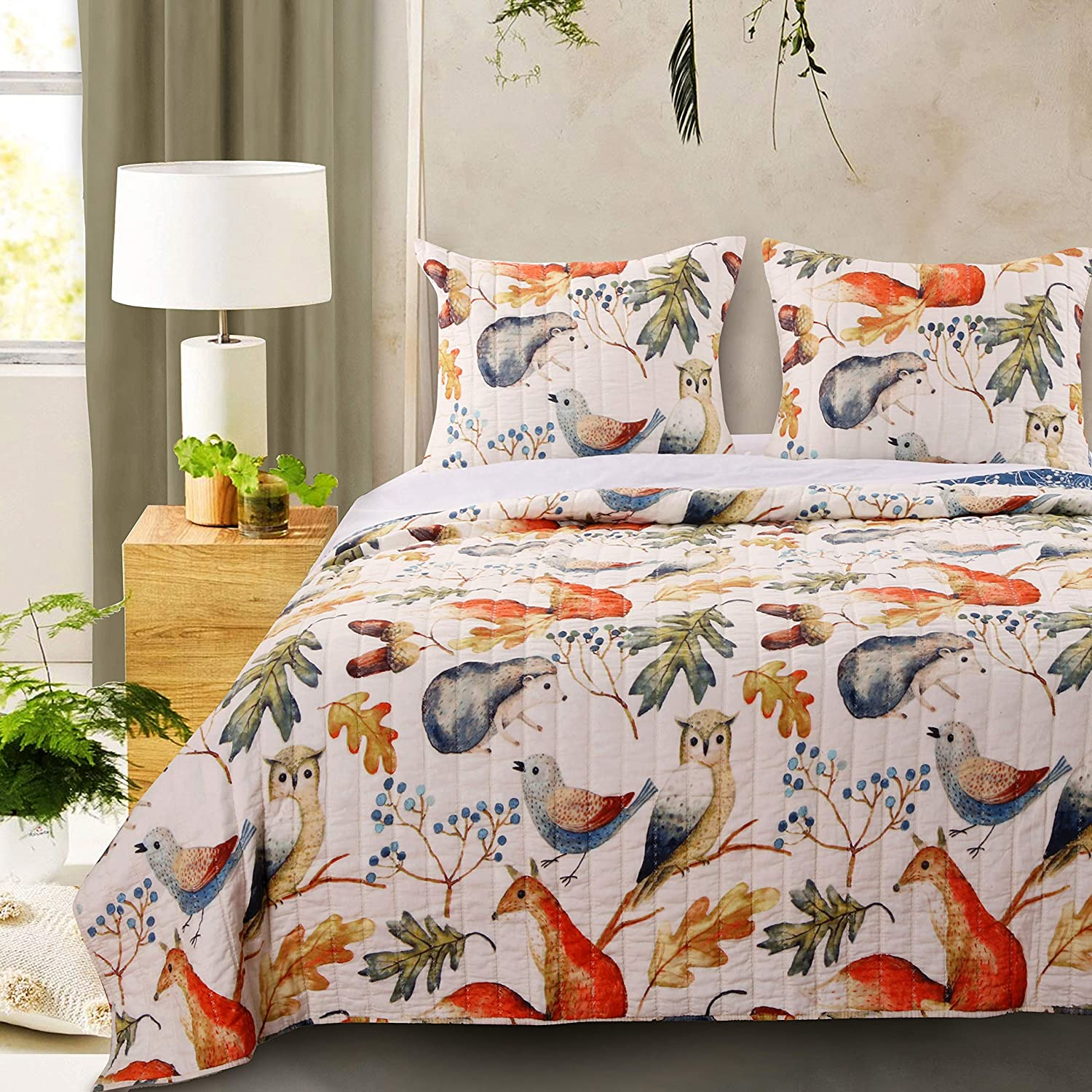 Barefoot Bungalow Willow Quilt Set, King, Off/White,GL-1806BMSK