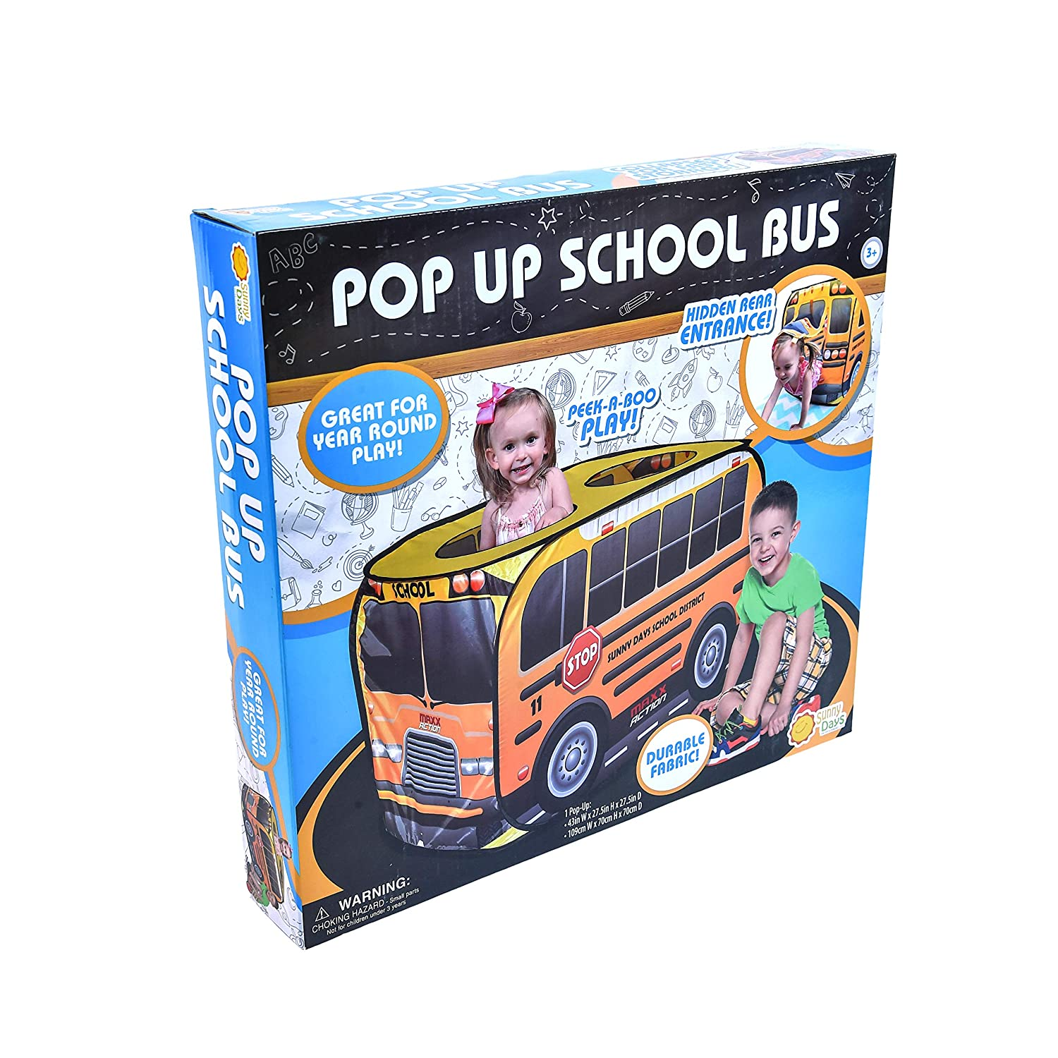 Yellow Vehicle Toy Gift for Boys and Girls Sunny Days Entertainment Pop Up School Bus Indoor Playhouse for Kids