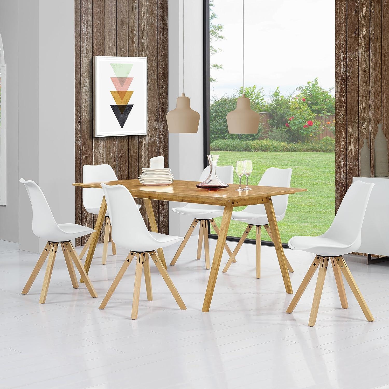 en.casa] Esstisch Bambus mit 6 Stühlen weiß gepolstert 180x80cm ...