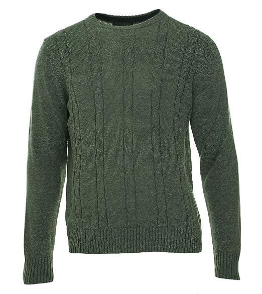 d9e27ab7e Image Unavailable. Image not available for. Color  Tricots St. Raphael Mens  Cable Knit Ribbed Trim Crewneck Sweater ...