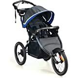 "Kolcraft Sprint Pro Jogging Stroller -16"" Air-Filled Fixed Front Wheel, Lightweight,Hand Brake, 3 Seat Positions (Sonic Blue)"