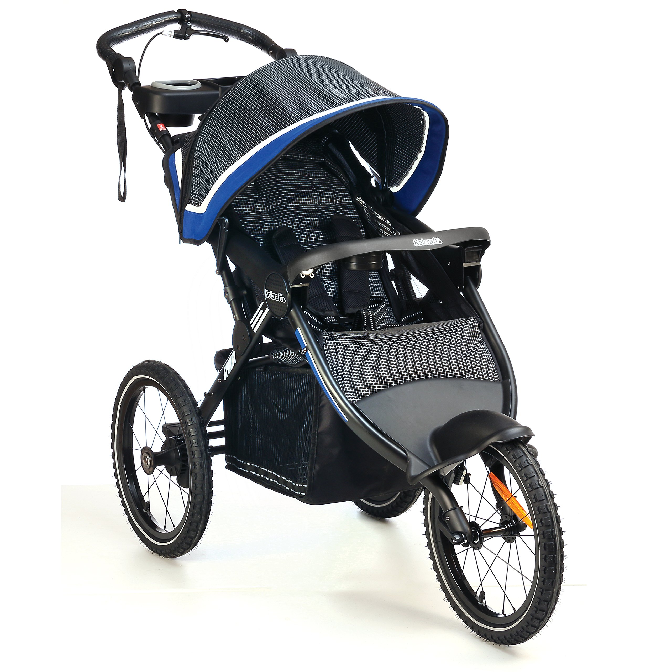 Kolcraft Sprint Pro Jogging Stroller -16'' Air-Filled Fixed Front Wheel, Lightweight,Hand Brake, 3 Seat Positions (Sonic Blue)