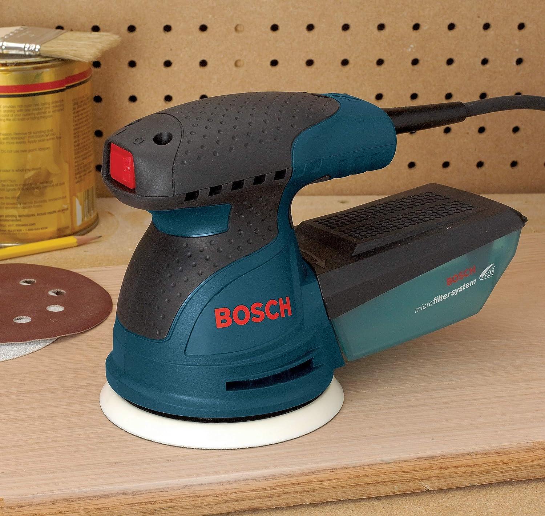Bosch ROS20VSC Palm Sander - 2.5 Amp 5 in. Corded Variable Speed Random Orbital Sander/Polisher Kit with Dust Collector and Soft Carrying Bag, Blue - Power Random Orbit Sanders -