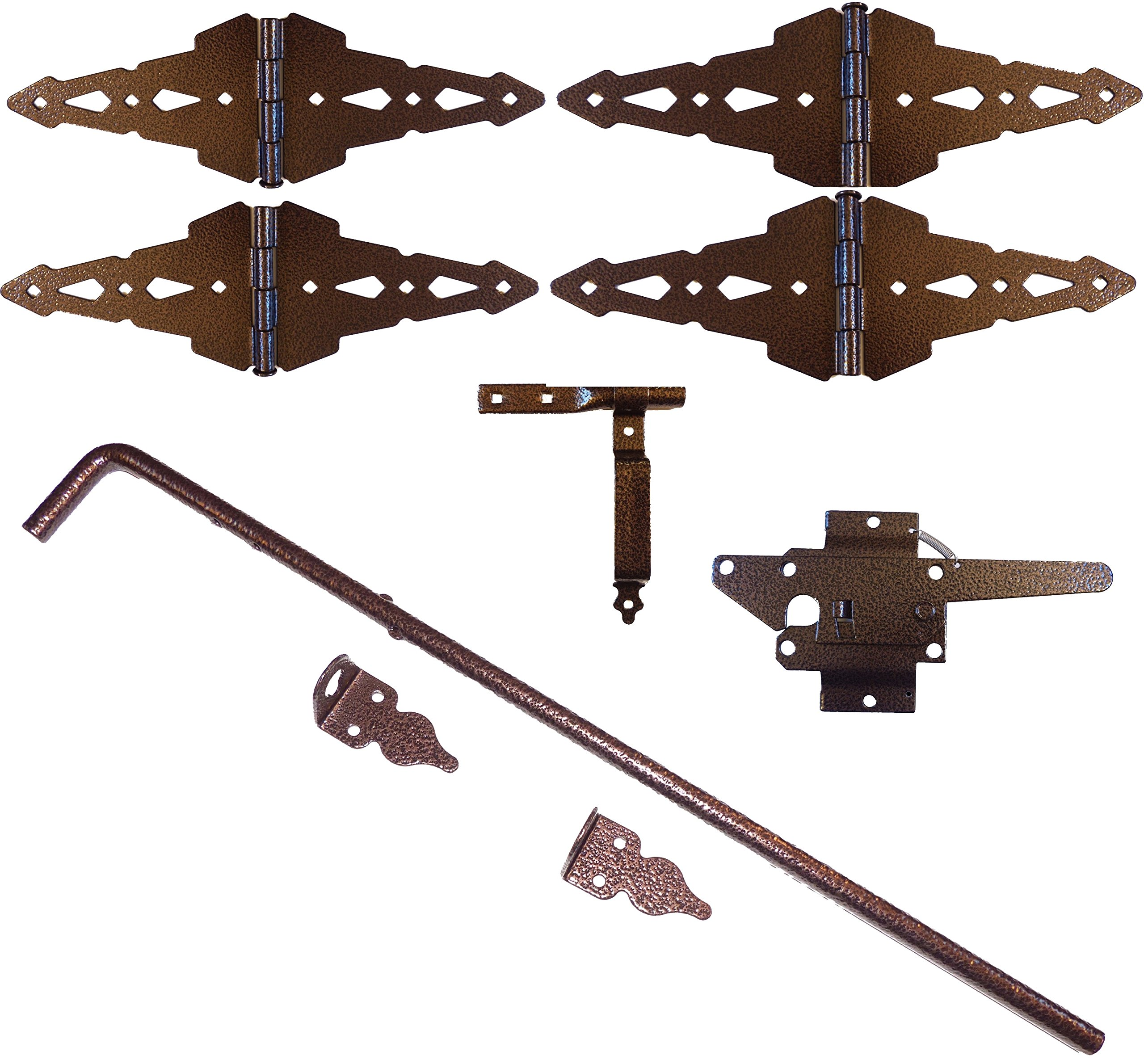 Wood Fence Double Gate Kit - Hammered Bronze Finish (Wood Gate Hinges, Latch and Drop Rod) by Custom Fence