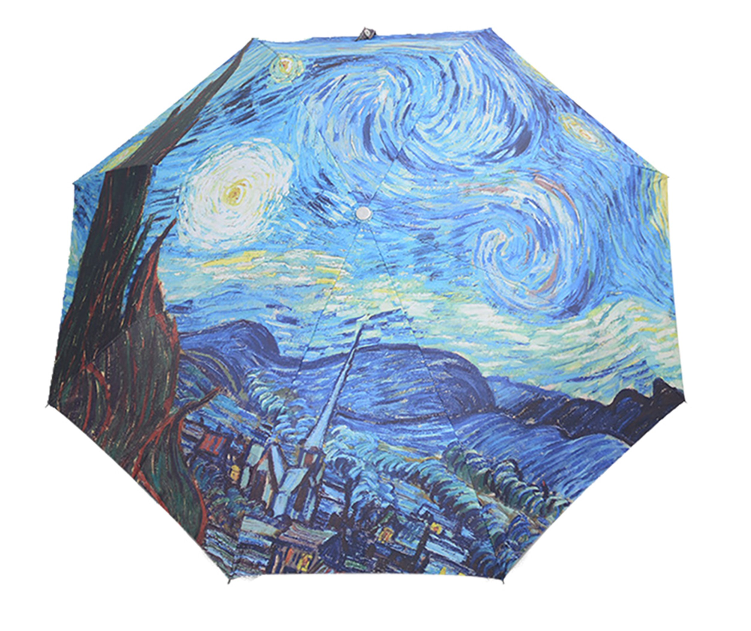 HappyGO Manual Open Compact Folding Travel Sunny Anti-UV Rainny Colorful Oil Painting Umbrella (Starry sky,8Ribs)