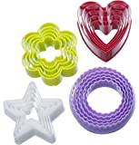 VonShef Colourful Cookie Cutter Set - Heart, Star, Flower, Fluted - 20 Piece Set