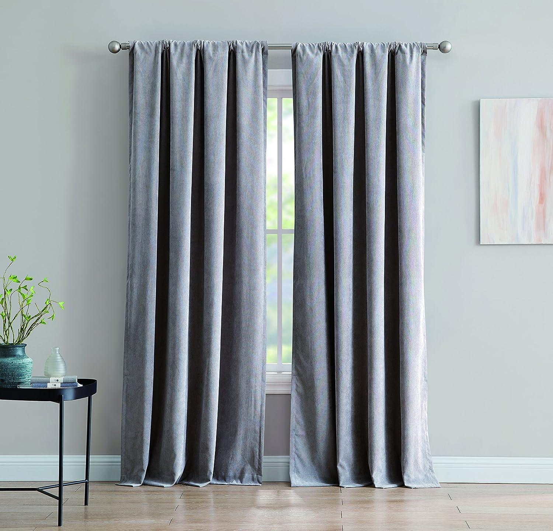Inspired Surroundings Isla Corduroy Rod Pocket Window Curtain, Grey
