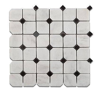 Bianco Venatino Marble Tumbled Octagonal Mosaic Tile W Black Dots - 6x6 black floor tile