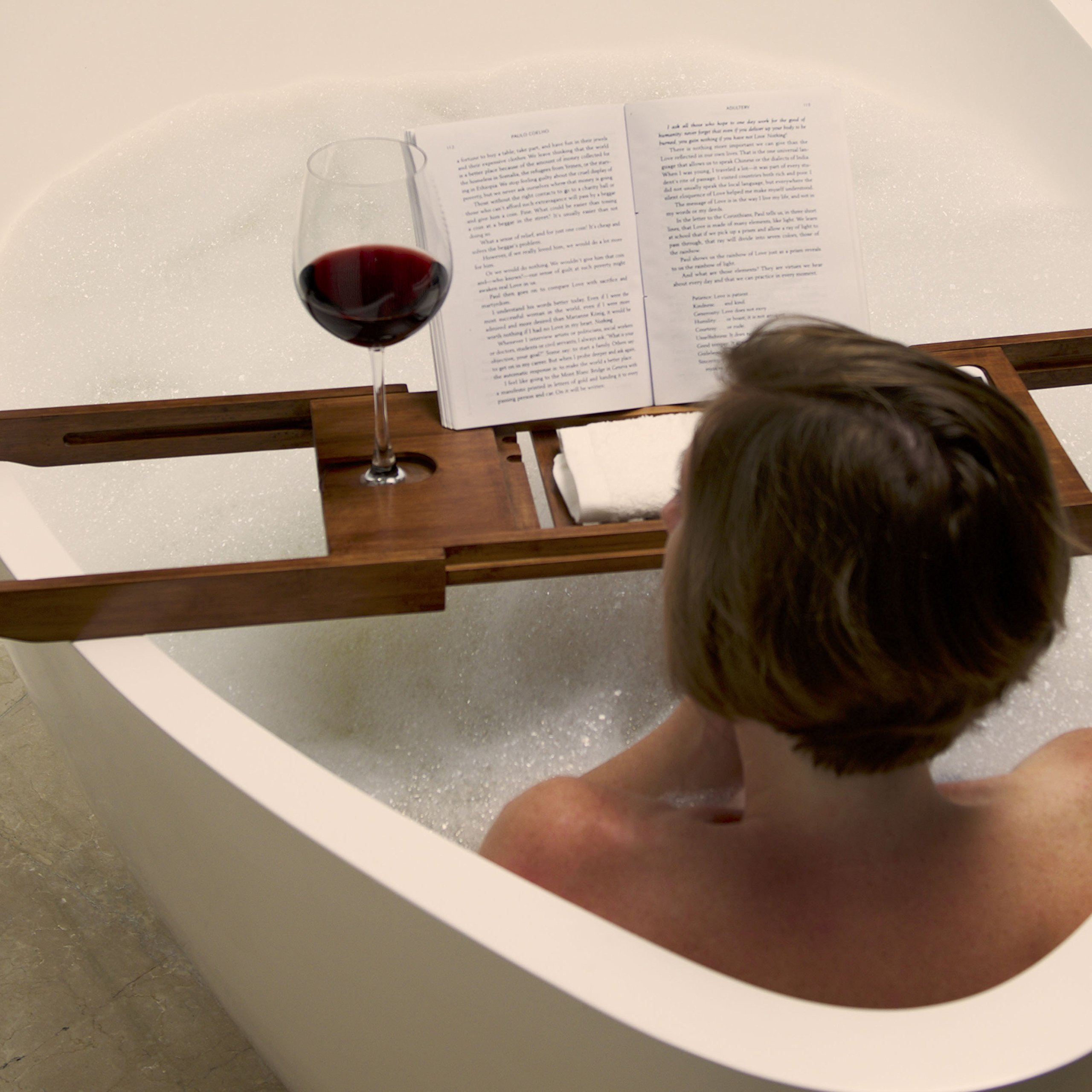 Luxury Dark Walnut Brown Bathtub Caddy, Natural Premium Bamboo Bath Tub Tray with Extending Sides, Reading Rack, Wine Glass, Book and Tablet Holder by Eden Bath (Image #8)