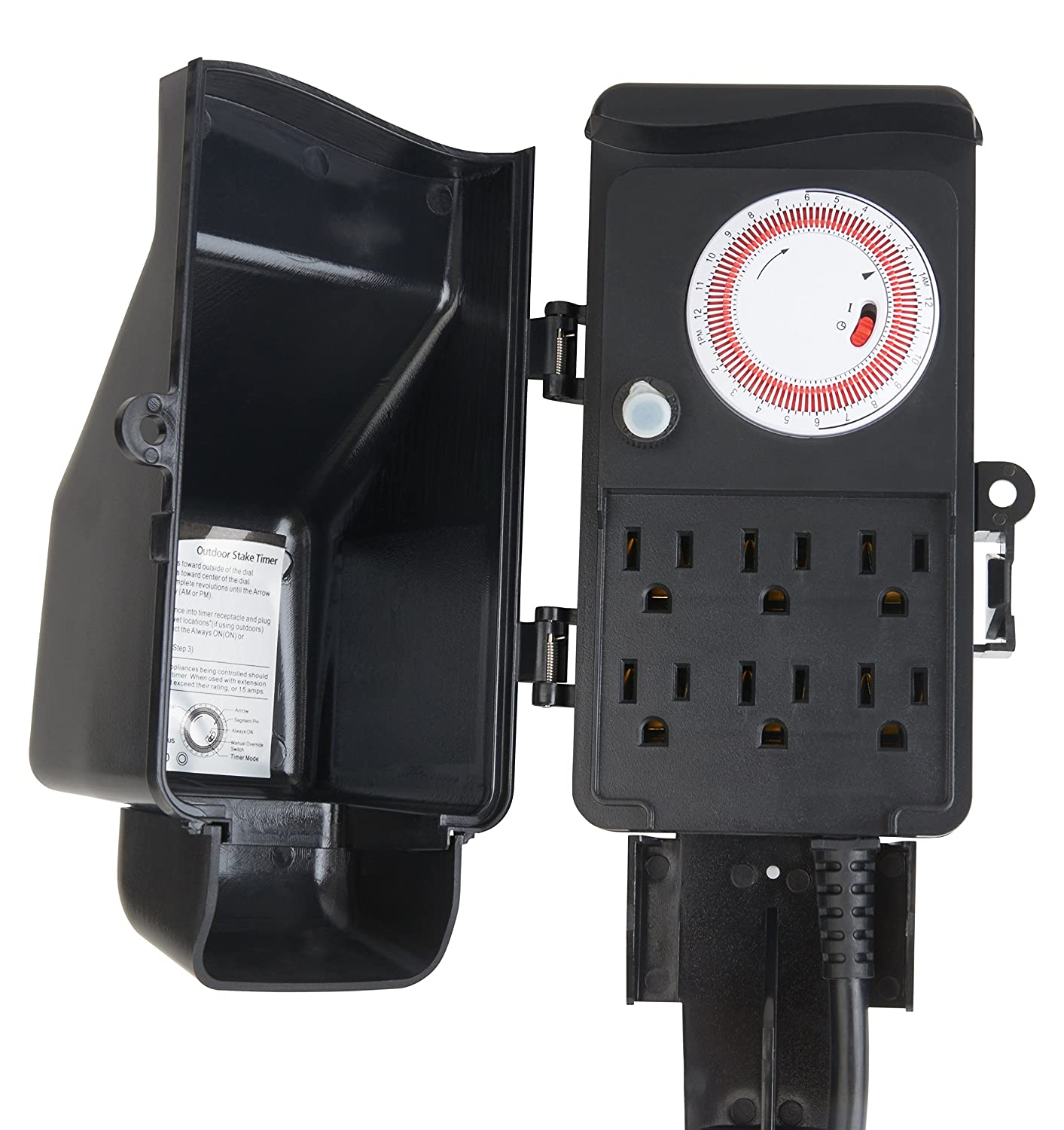 Westek TM16DOLB Six Outlet Outdoor Stake Timer Wall Timer Switches