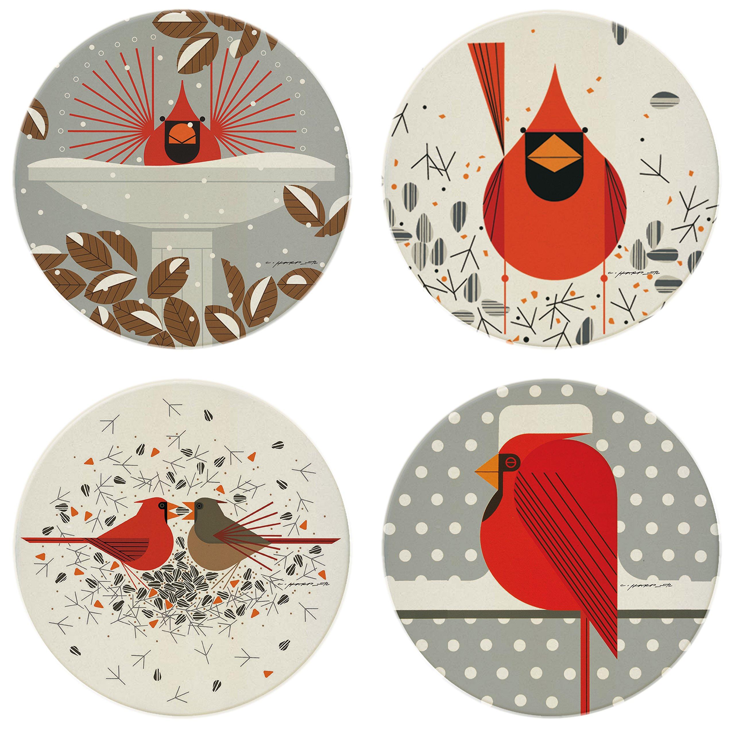 Charley Harper Cardinals Absorbent Stone Coaster Set