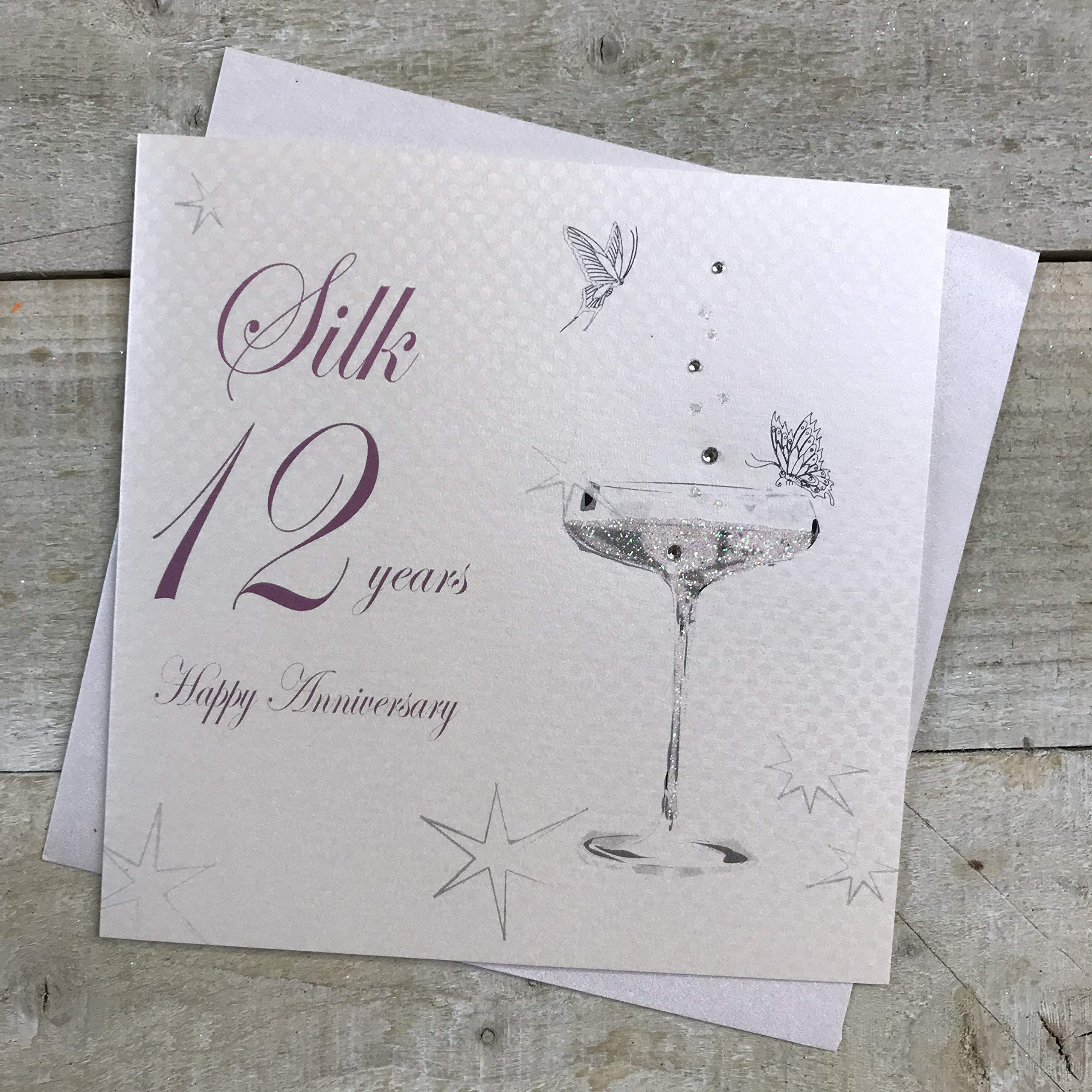 Iconic Collection 12th Wedding Anniversary Card Silk Anniversary