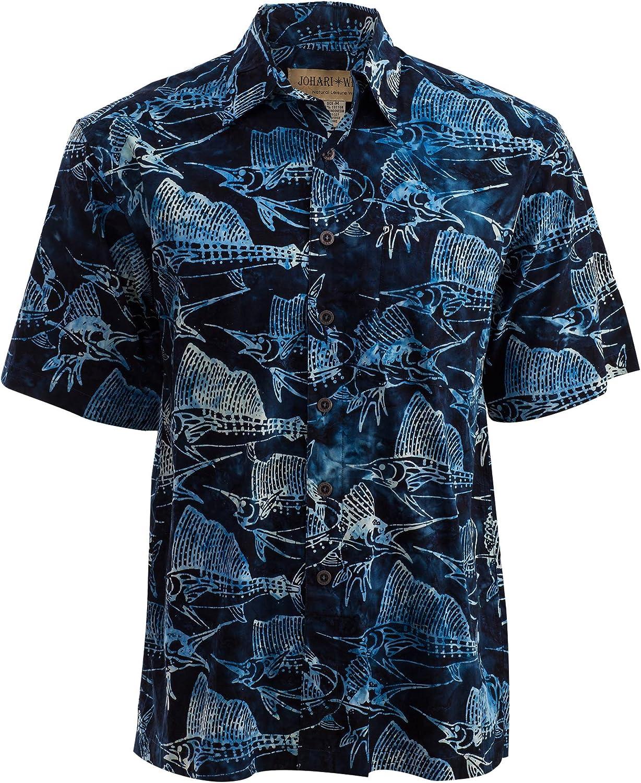 Johari West Sailfish Night Tropical Hawaiian Batik Shirt