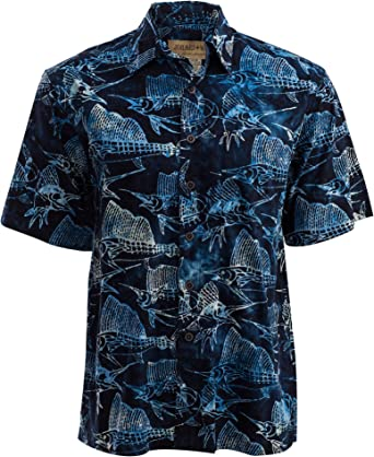 Johari West - Camisa de Batik Hawaiana Tropical, diseño de pez Vela