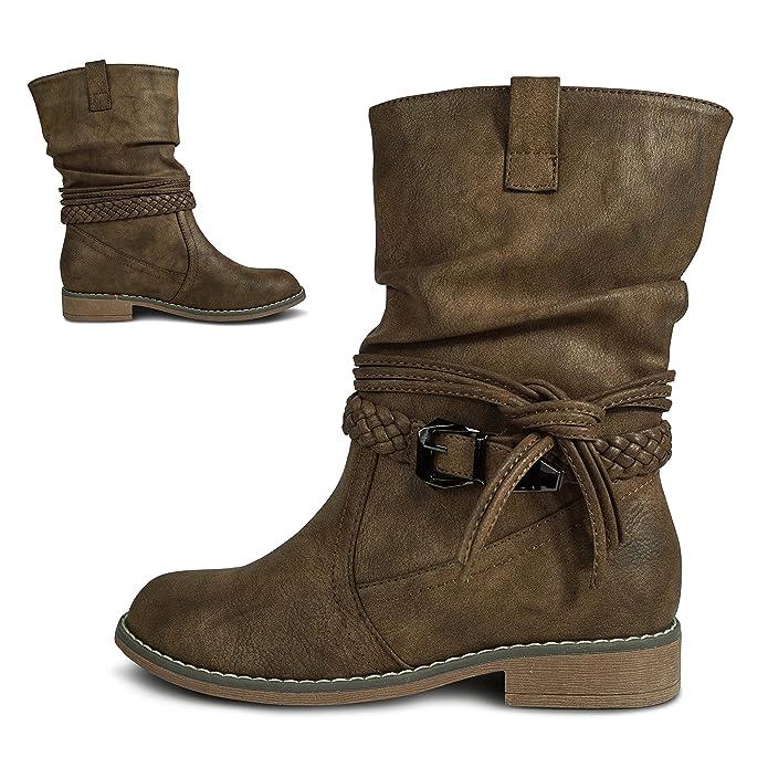 1bf0bcfeea09 Damen Stiefel Stiefeletten gefüttert Boots Biker Schlupfstiefel ST871   Amazon.de  Schuhe   Handtaschen