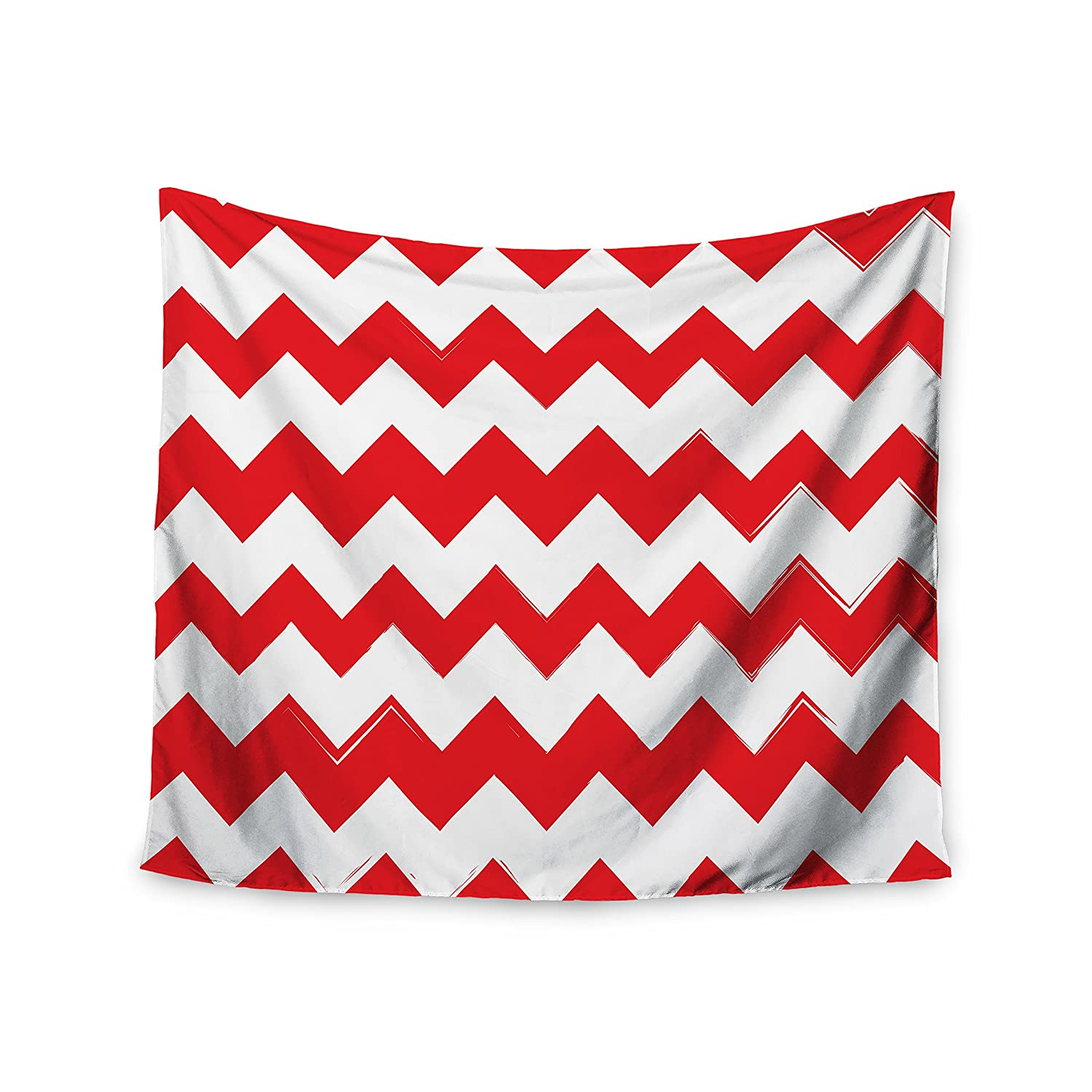 Kess InHouse Kess Original Candy Cane Red Chevron Wall Tapestry 51 X 60