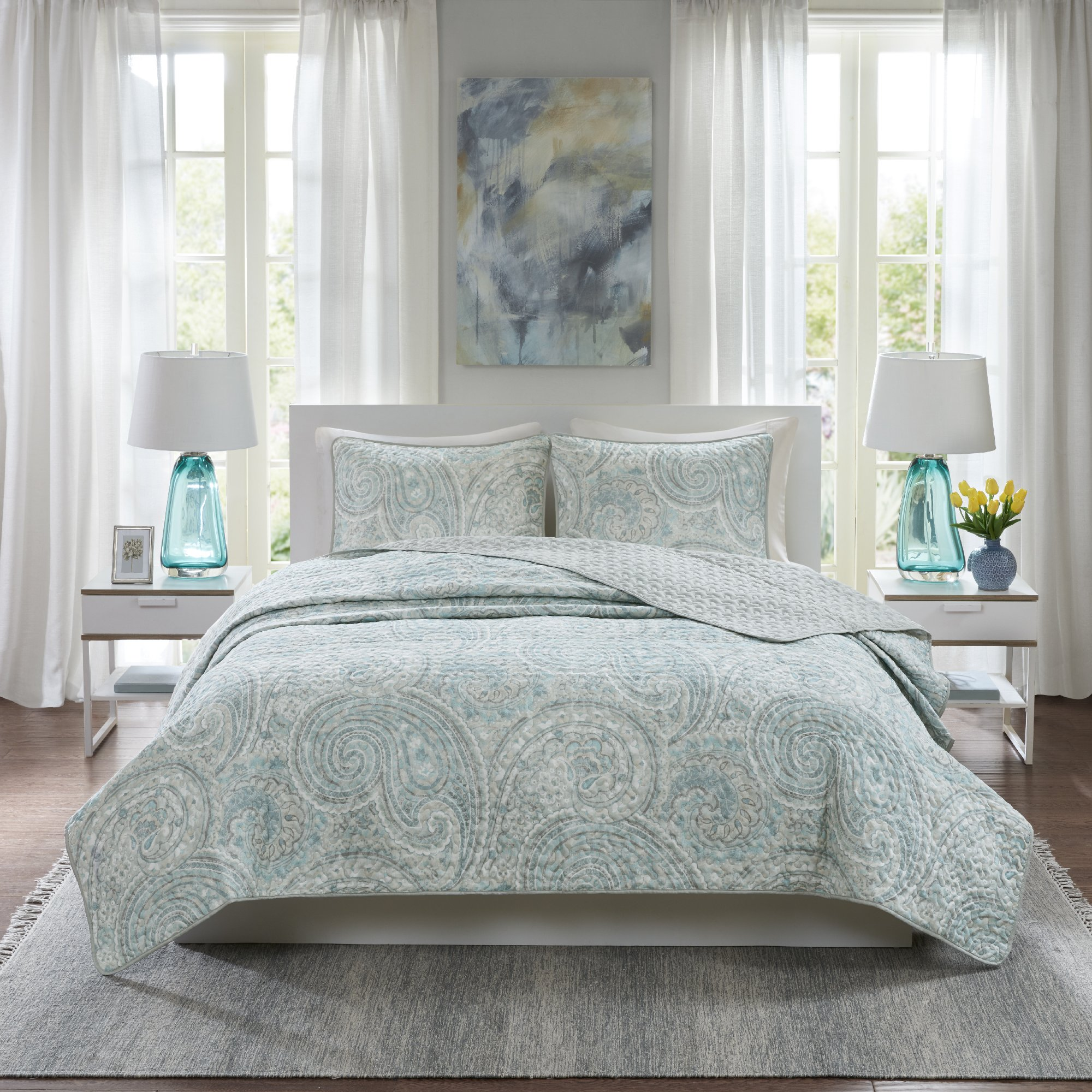 Comfort Spaces Kashmir Hypoallergenic All Season Lightweight Filling Paisley Print Girls 3 Piece Quilt Coverlet Bedspread Bedding Set, King, Blue Grey by Comfort Spaces