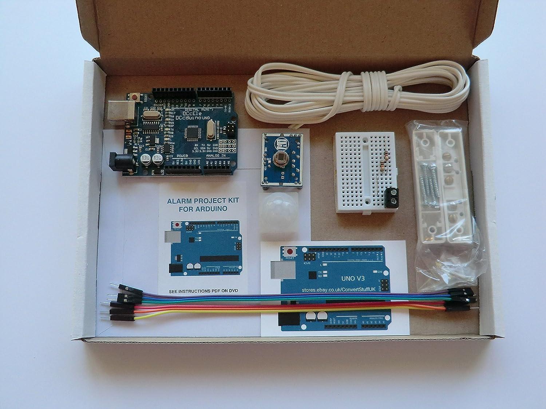 Arduino Uno R3 ATmega328P compatible con placa + sensor de movimiento PIR IR + sensor de puerta magnética Home Security Kit.