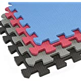 Interlocking Foam Mats With Borders | Thick EVA Exercise Flooring | Soft & Non Toxic Kids Play Tiles | Puzzle for Children & Baby Room | Yoga Squares Babies Garage Gym Fitness Board