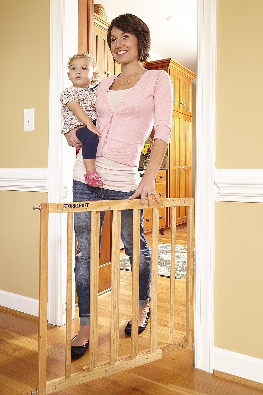 Stork Craft Easy Walk-Thru Wooden Safety Gate, Natural by Stork Craft   B017LXVU8O